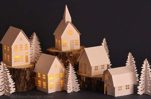 Tea Light Paper Village - 3D Cuts