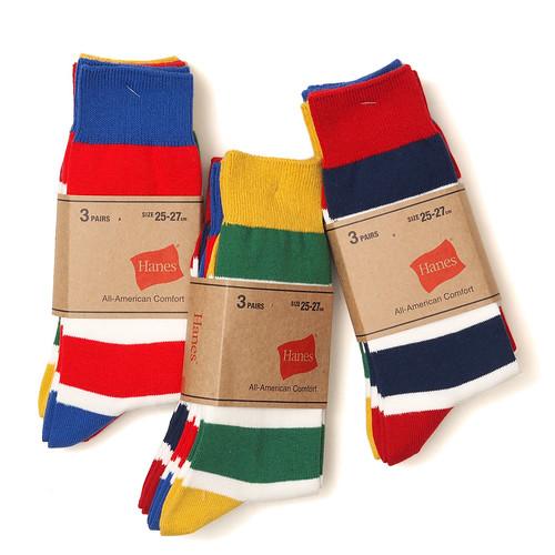 Hanes / HMS497D #997 3P Border Socks