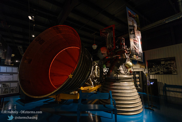 Sun, 10/26/2014 - 15:13 - The F-1 (left) and J-2  (right) rocket engines. The J-2 powered the second stages on the Saturn V used in the Apollo missions. The F-1 was used in the first stage of the Saturn V, and is the most powerful single-chamber liquid fueled rocket engine in the world. - Stafford Air and Space Museum - October 26, 2014 3:13:25 PM - Weatherford, Oklahoma (35.5447,-98.6700)