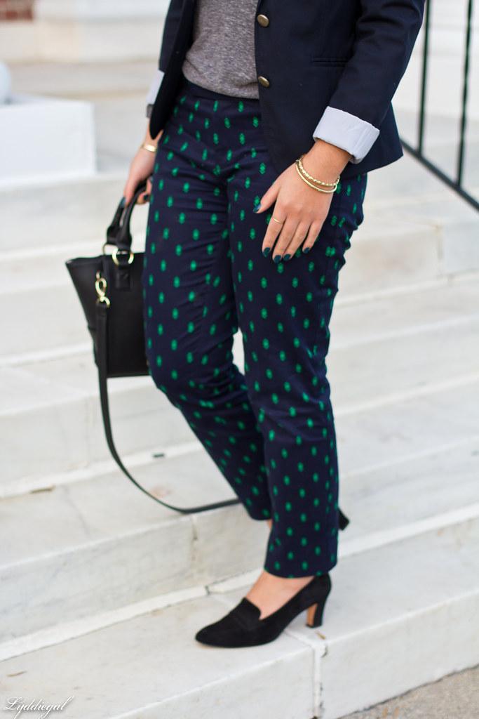 printed pants, navy blazer, grey top-5.jpg