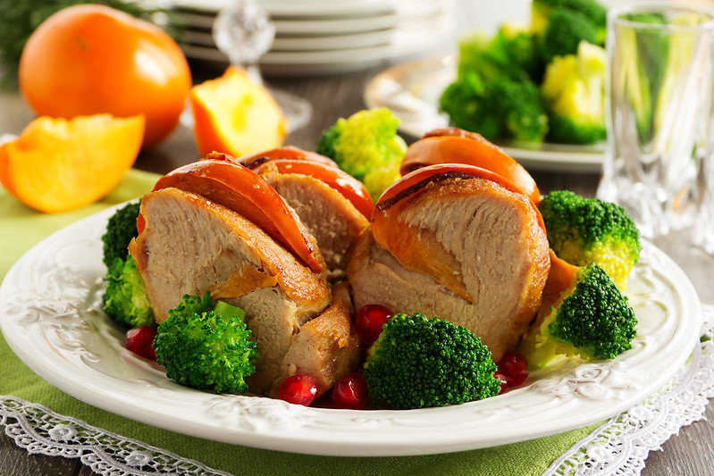 Pork baked with persimmons and broccoli....
