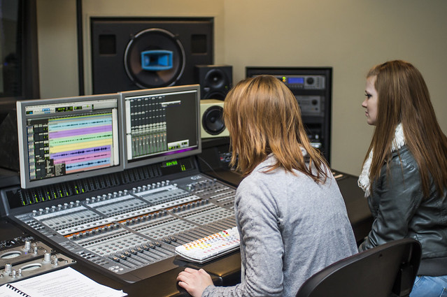 Xandria Gregory and Renee Bracken mix music in the Northeast Community College audio production lab which uses Avid ProTools.