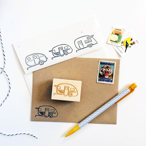 New: Vintage Trailer Caravan Rubber Stamp