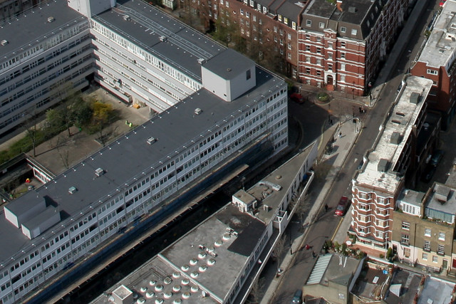 Clipstone Mews / Cleveland Street / Holcroft Court - from BT Tower