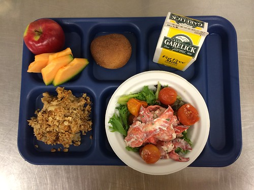 Mount Desert Elementary School's menu featured fresh Maine lobster salad over organic baby greens with oven roasted tomatoes, locally grown apple crisp with cinnamon and raisins, a whole grain roll, and fruit.