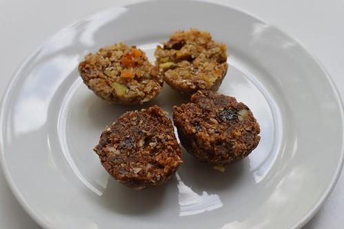 Chocolate crunch balls, lime, apricot & pistachio balls