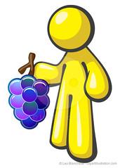 Yellow Character Man Grapes