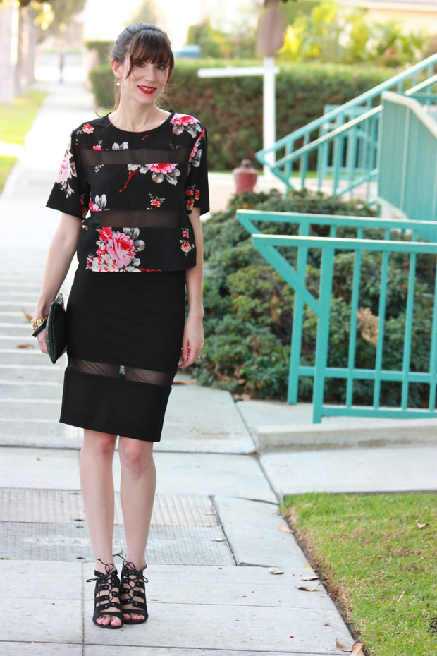 Floral Crop Top, Pencil Skirt with Sheer Panels