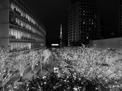 FUJIFILM X30 night scene illumination SNOW&BLUE Film Simulation Monochrome G Filter