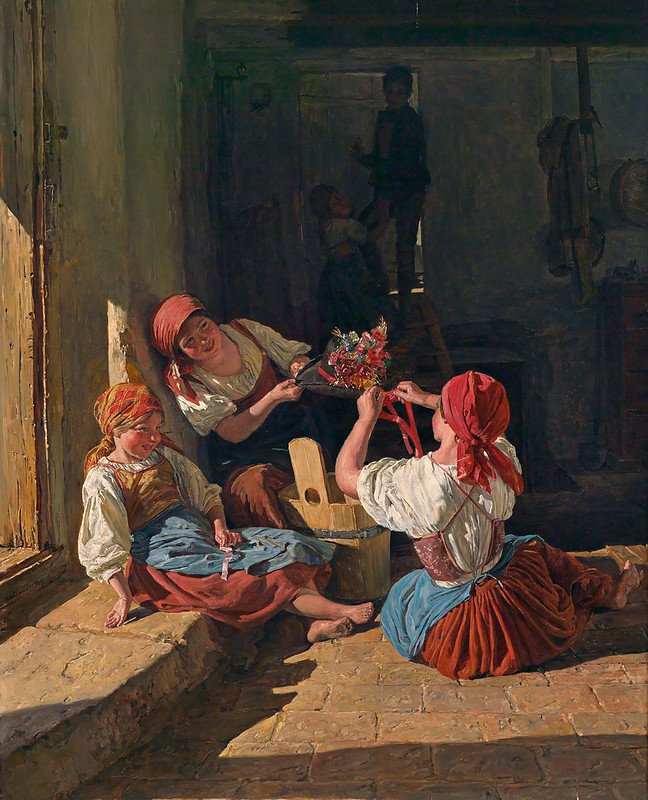Ferdinand Georg Waldmüller - Children Decorate a Conscript's Hat