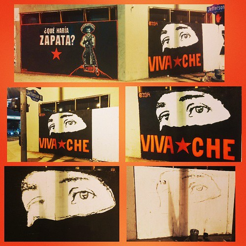 15'x8'Freestyle hand painted Marcos eyes another addition to Vivache's Street Art Gallery on the corner ofJefferson & La Cienega. More to come Sunday!    #losangeles #StreetArtGallery #VivaChe #VivaCheMan #EZLN #subcomandantemarcos #Marcos #revolution #re