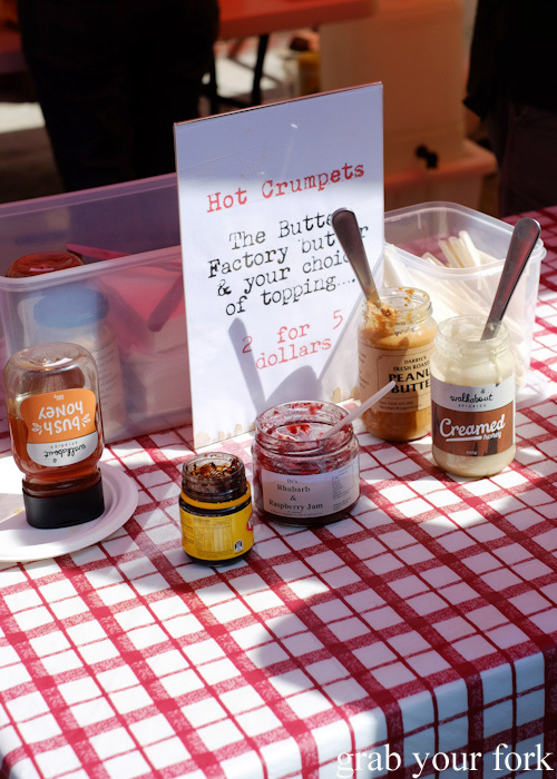Dr Marty's crumpet stall at Abbotsford Convent Slow Food Farmers Market