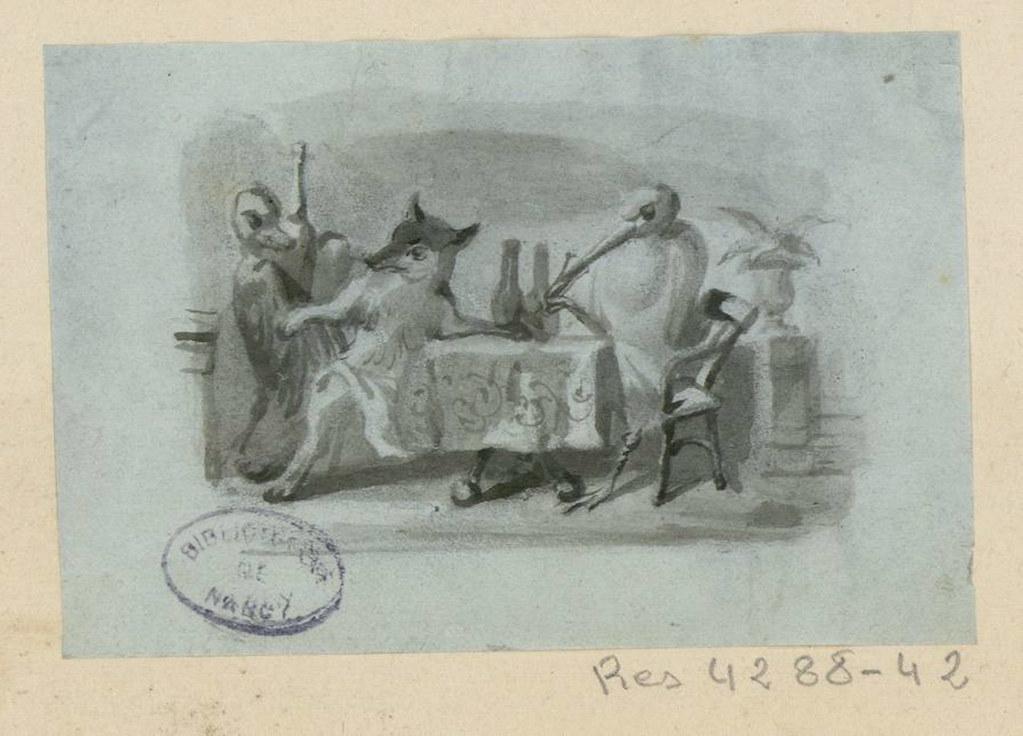 Le renard et la cigogne les fables de la fontaine dessin flickr - Le renard et la cigogne dessin ...