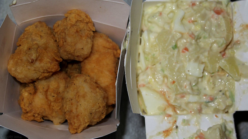 Fried chicken chunks and potato salad