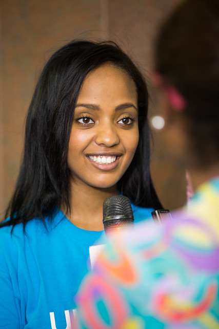 Abelone Melese interviewed by the media on her new role as the newest UNICEF National Ambassador to Ethiopia.
