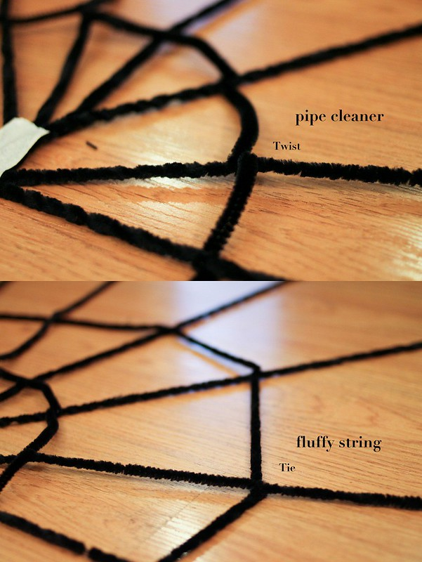 Easy spider web & spider DIY-001