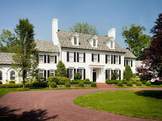Things that inspire a classic white house black shutters for Classic family home