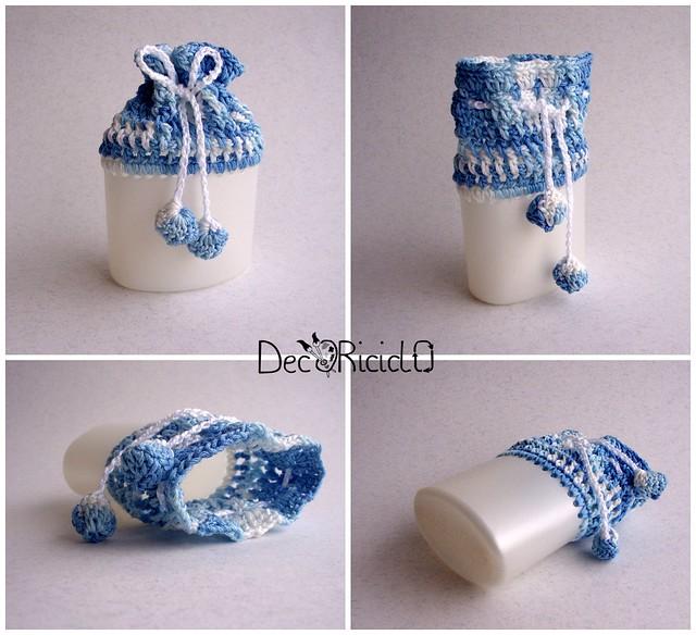 Collage sacchettino semi-rigido bicolore azzurro