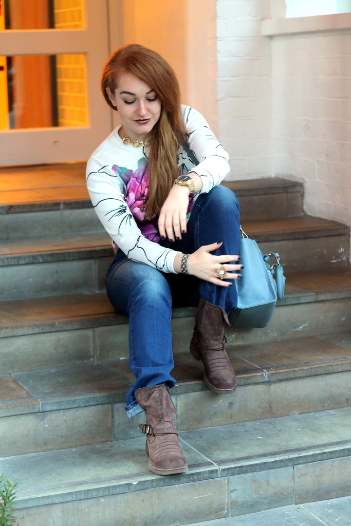 Asos petal crop jumper, bootcut jeans (2)