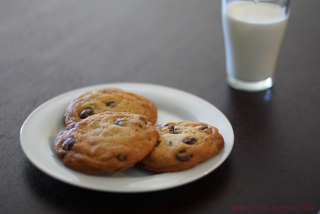Chocolate chip cookies side with milk by little luxury list