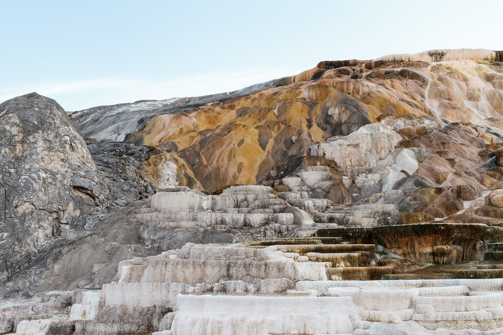 A variety of mineral deposits at Yellowstone National Park