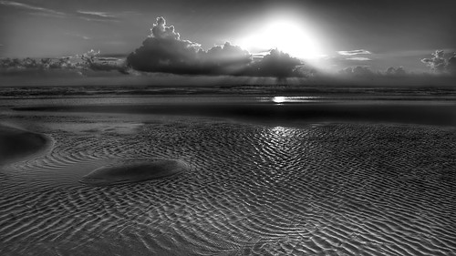 ocean sky blackandwhite bw sun beach water monochrome clouds sunrise island mono sand noir waves fuji florida atlantic ripples amelia fujinon ameliaisland xe2 xf1855 fujixe2