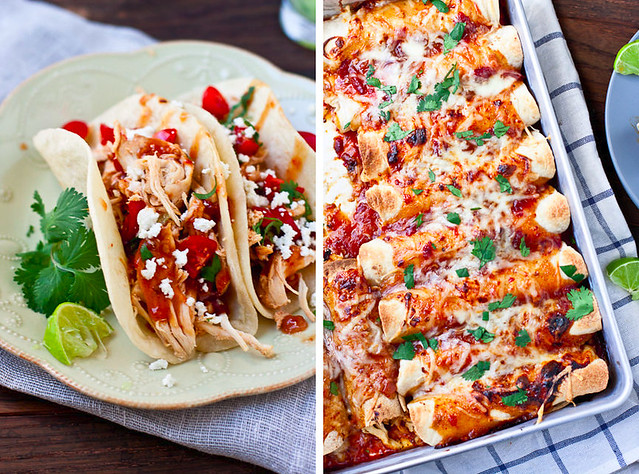 Slow Cooker Honey Chipotle Chicken Tacos and Enchiladas