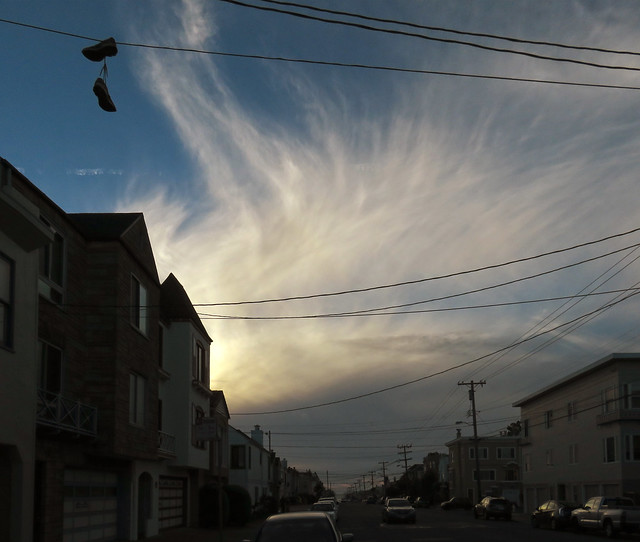 wispy afternoon clouds POV Irving St; The Sunset, San Francisco (2014)