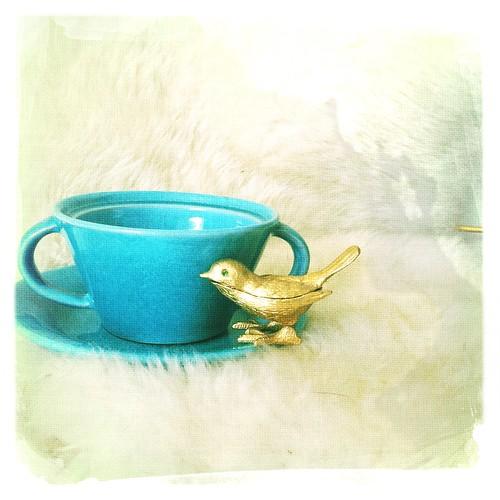Blue Cup Gold Bird