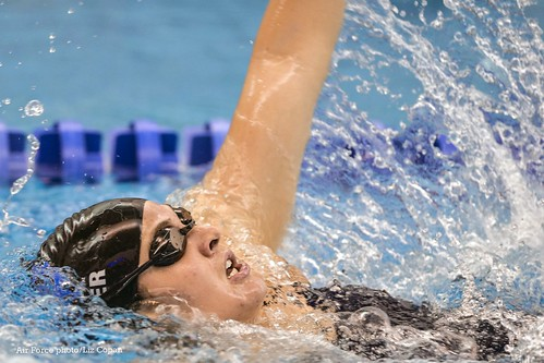 EMC0147 - Junior Leah Weber competes in the women's 200 yard individual medley race on Oct. 24, 2014