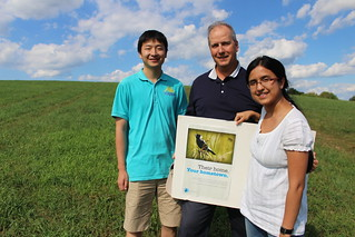 Stephen Swallow, center, with PhD students Pengfei Liu, left, and Anwesha Chakrabarti. Photo by Cameron Faustman.