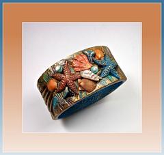 polymer clay Seashore Bangle bracelet