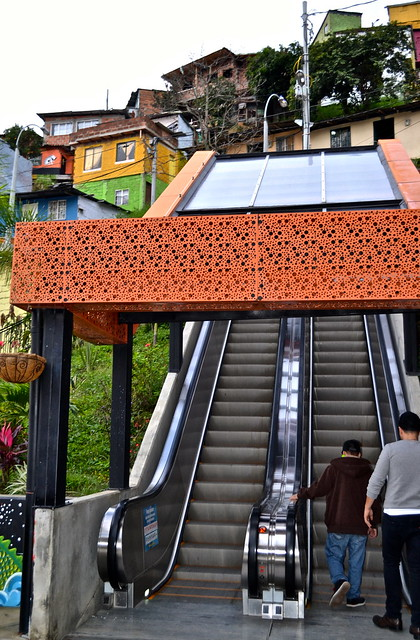 electric stairs (elevators) of comuna 13 medellin, colombia