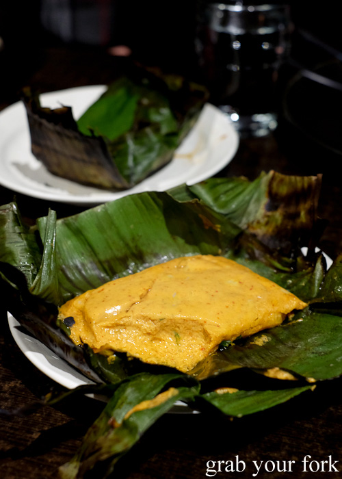 Hor mok yang grilled fish curry in banana leaf at Khao Pla, Chatswood