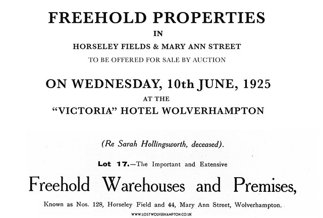 Hollingsworths Warehouse sale 1925