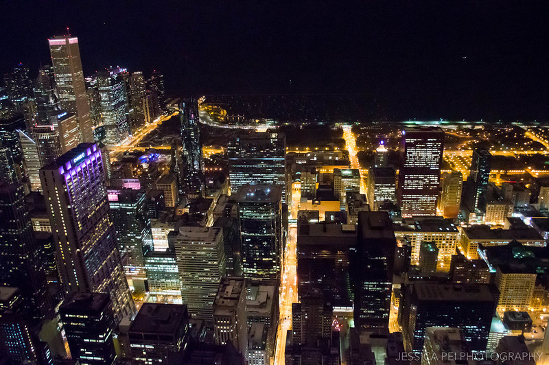 Willis Tower Night View of Chicago Coast
