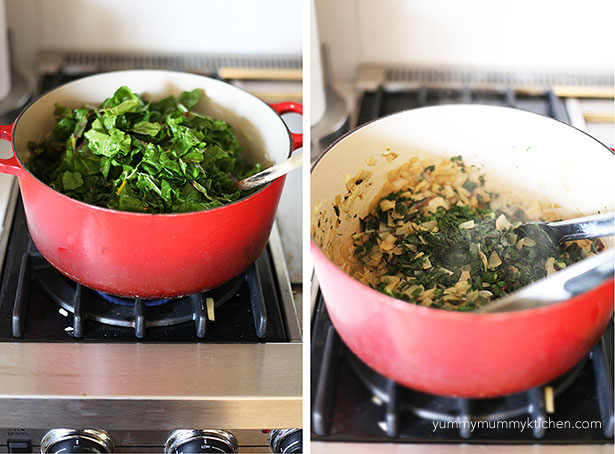 Chard and onions are sauteed in a red Le Creuset Dutch oven.