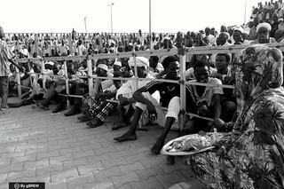 Spectators of Nuba wrestling in Bahri, Sudan