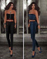 DE Designs - Kelly Corset Black and Blue