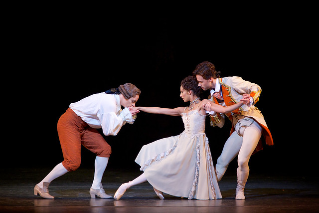 Francesca Hayward as Manon, Thomas Whitehead as Monsieur G.M and Alexander Campbell as Lescaut in Manon ©ROH 2014. Photo by Alice Pennefather