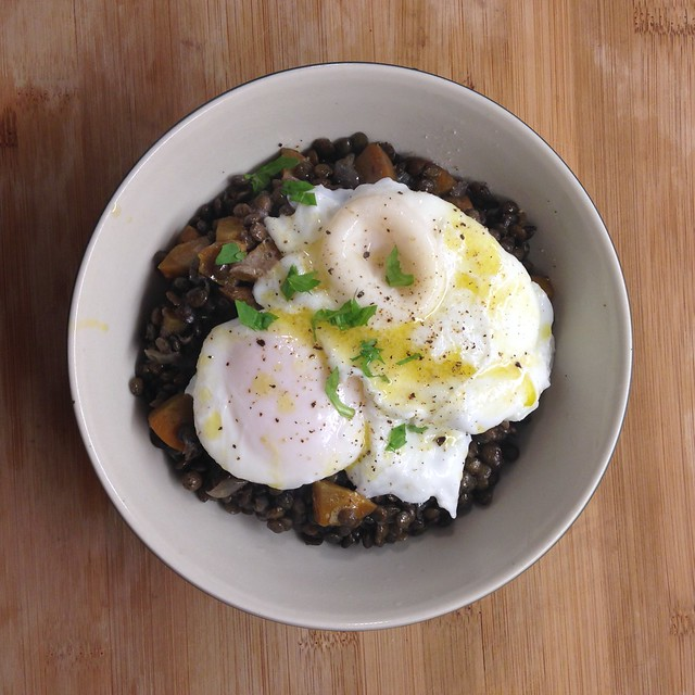 warm french lentils, poached eggs