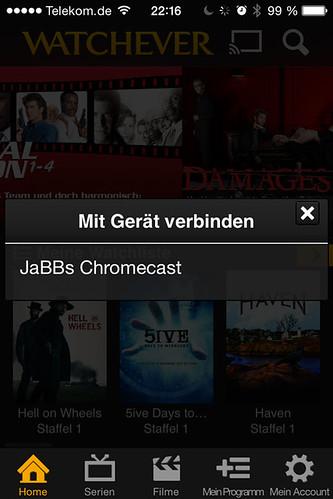 26 - Google Chromecast - Verbinden Watchever auf iPhone