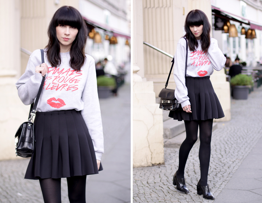 jamais sans rouge a levres jsral sweatshirt paris french kiss lips shirt skirt proenza schouler ps11 ootd outfit blogger fashionblogger ricarda schernus cats & dogs 6