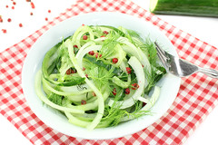 Spaghetti cucumber with red pepper and dill