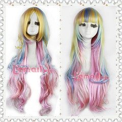 86cm long zipper multi-color wavy Anime Cosplay hair wig CB33