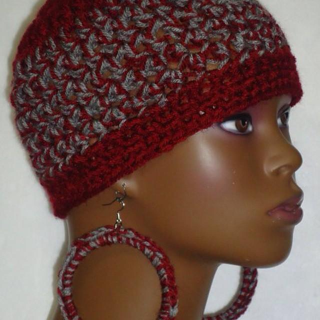 Stretchy Crochet Skull Cap Hat With Lightweight Hoop Earri Flickr
