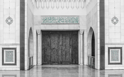 Door Detail, Masjid Wilayah, Kuala Lumpur, Malaysia B&W Aqua