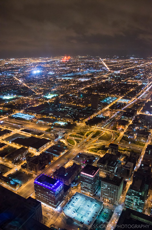 Willis Tower Skydeck Night View of Downtown Chicago