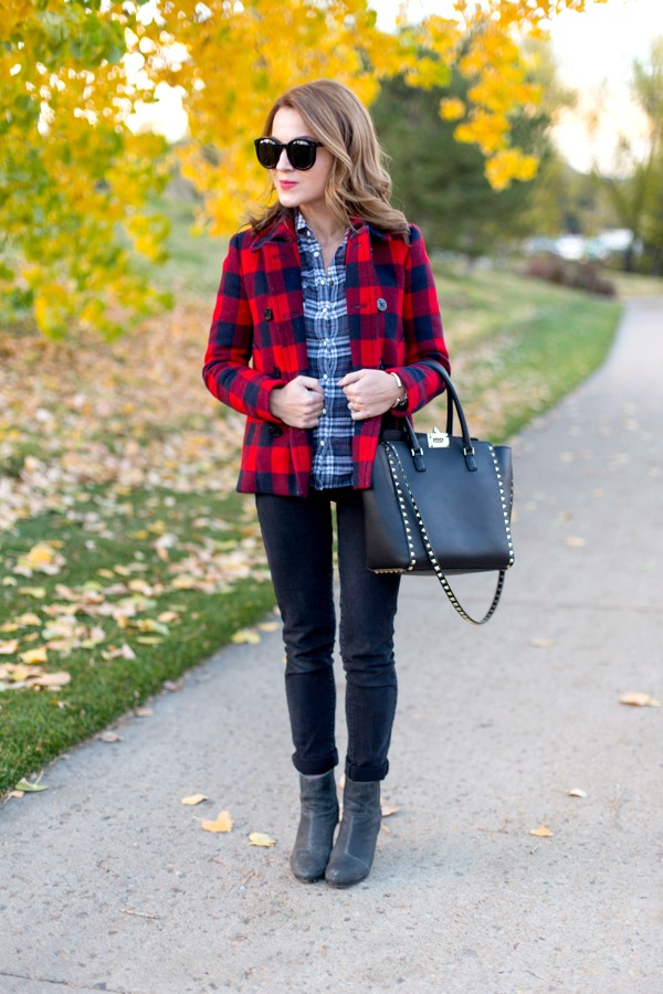 Buffalo plaid + jeans