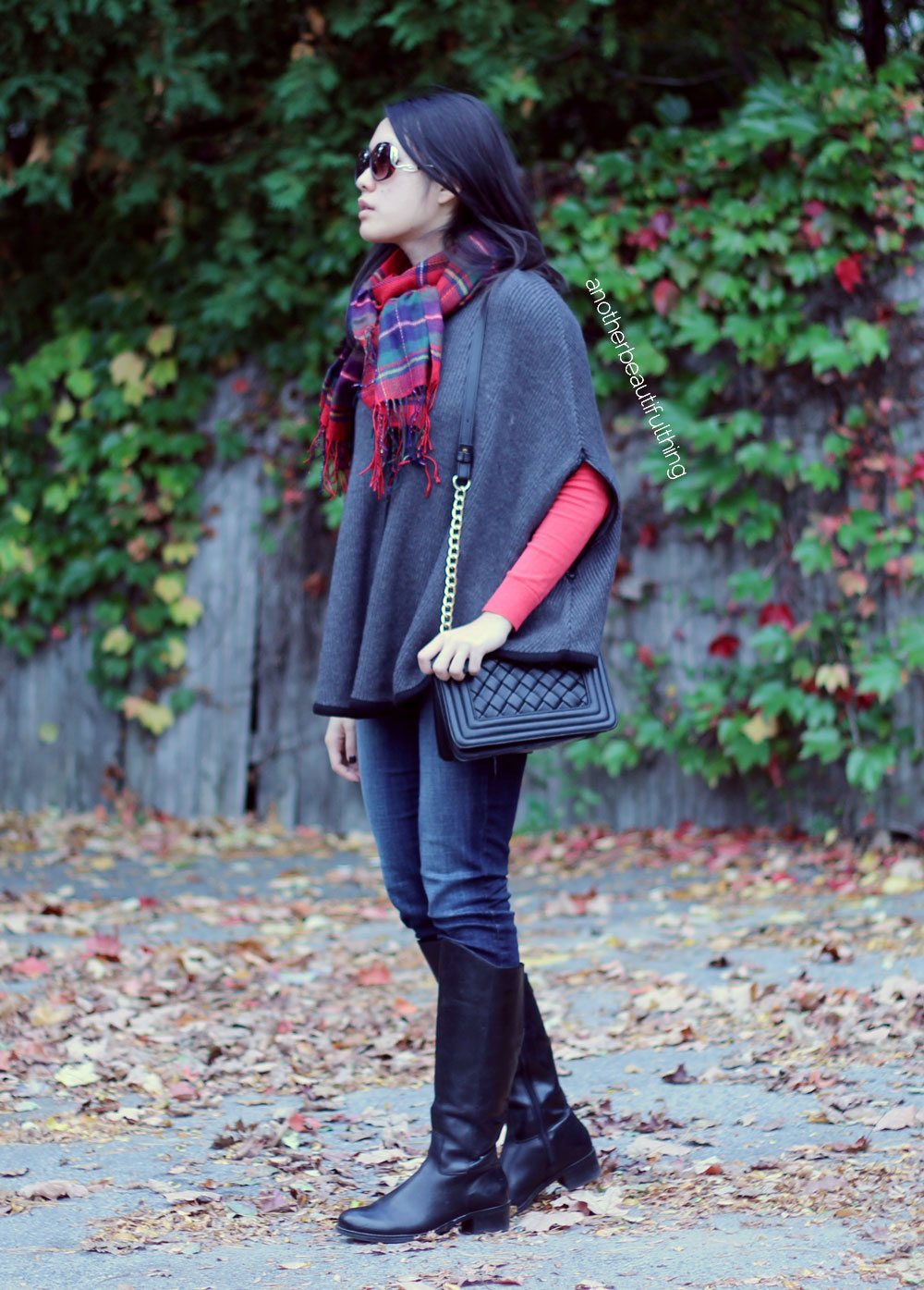 Forever21 poncho and red plaid scarf
